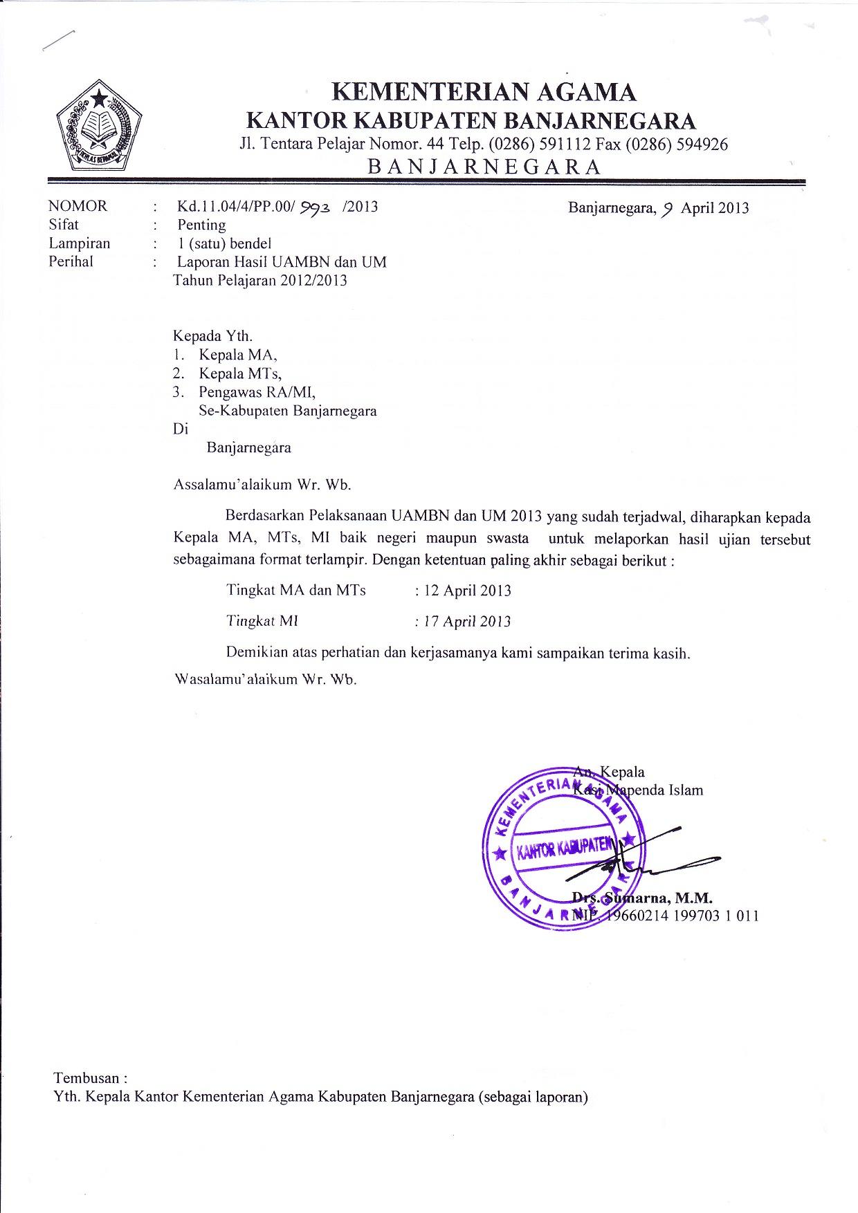 Dengan selesainya pelaksanaan UAMBN dan UM madrasah 2013. di harapkan